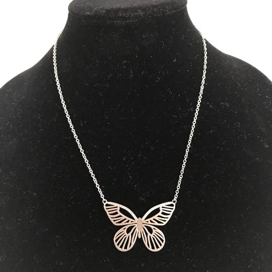 Fossil Nwt Fossil Stainless Steel Silver Butterfly And Stones Necklace 21