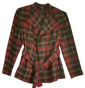 Evan Picone Plaifd Belted Open Front red plaid Jacket