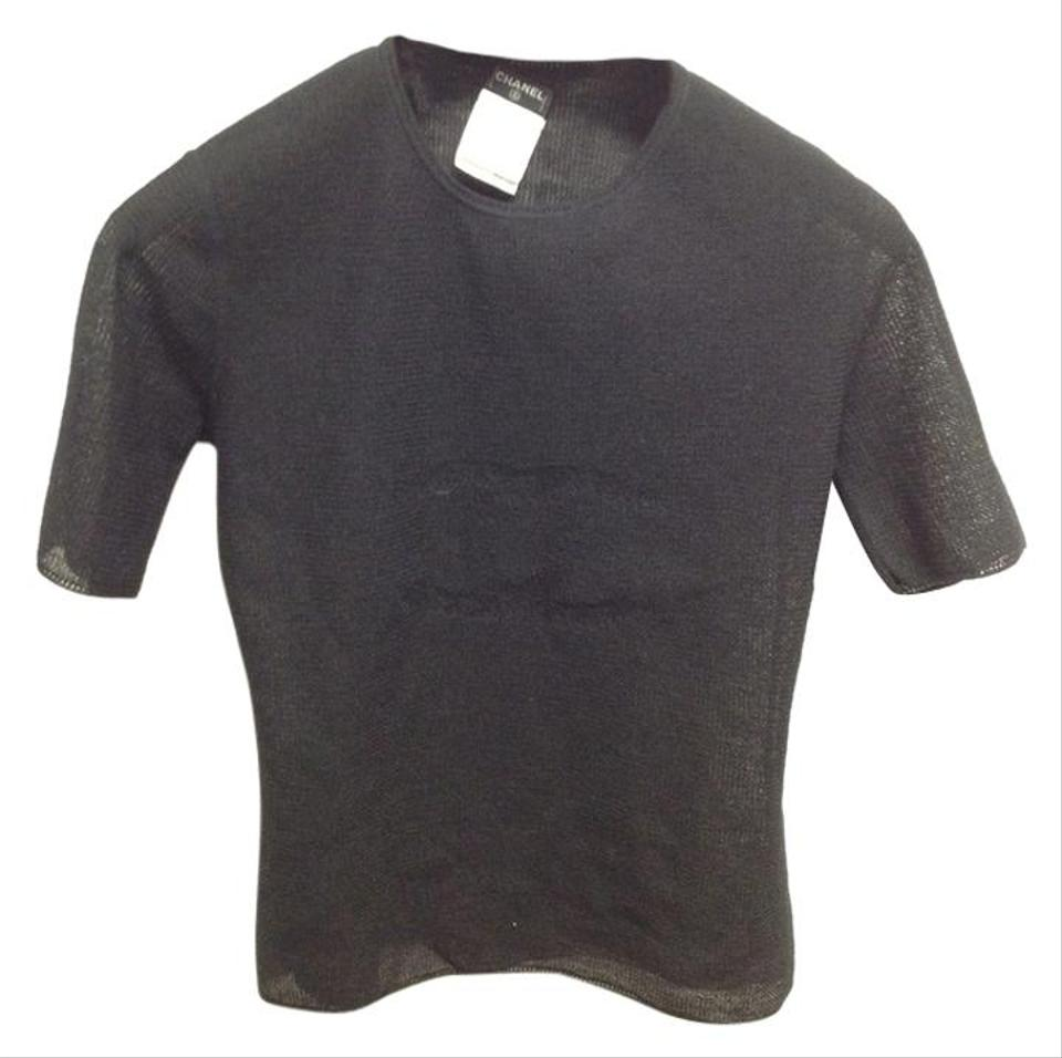 Chanel black 3780 timeless cc large logo front tee shirt for Chanel logo t shirt to buy