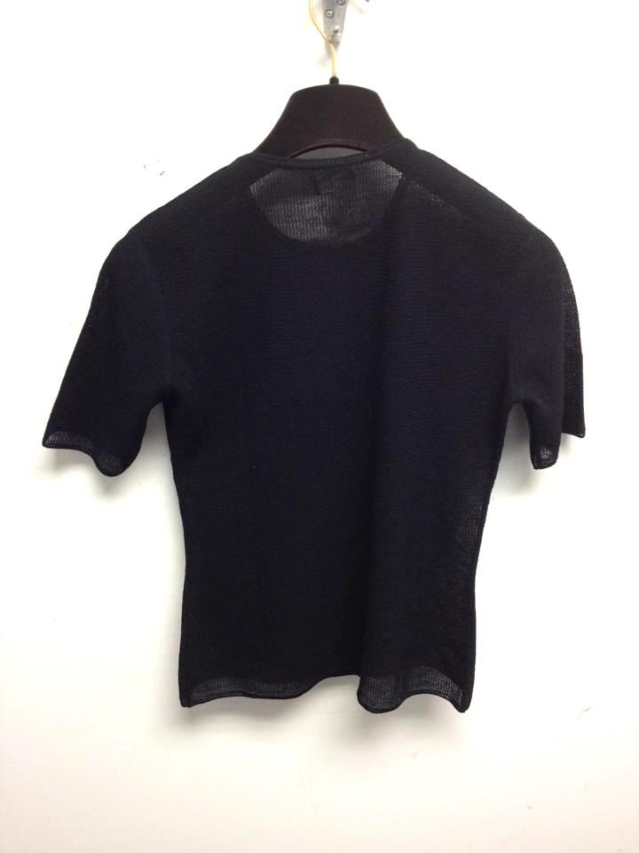 Chanel black 3780 timeless cc large logo front tee shirt for Authentic chanel logo t shirt