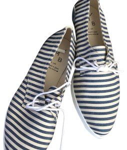Anthropologie Navy & Cream Lace Ups Flats