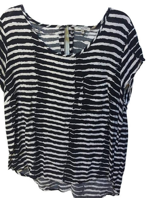 Item - Black and White Blouse/Anne Blouse Size 22 (Plus 2x)