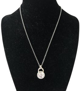 Fossil Nwt Fossil Sterling Silver CZ Round Solitaire Pendant Necklace 16""