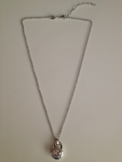 """Fossil Nwt Fossil Sterling Silver Round Solitaire CZ Pendant Necklace 16"""""""