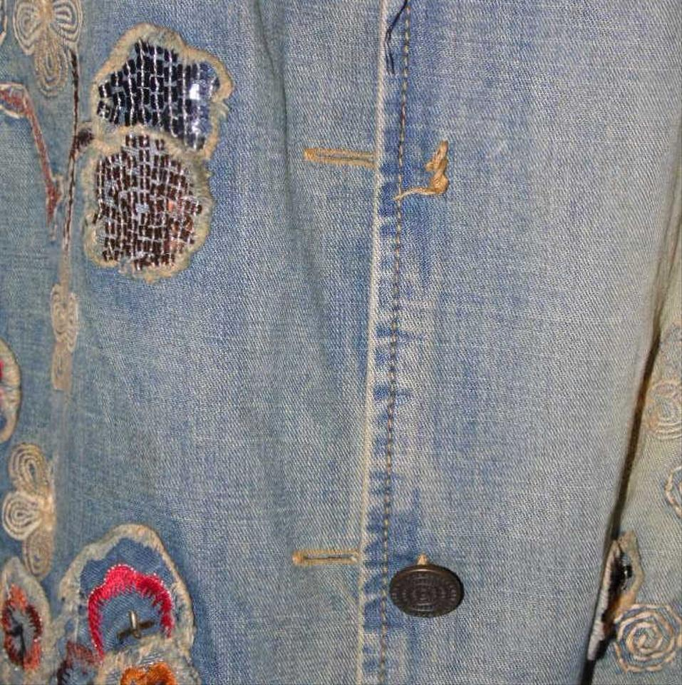 Chico S Blue Vintage Artsy Embroidered Aplicay Jacket Size 16 Xl