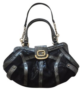 Guess Party Plunge Snakeskin Tote in Black