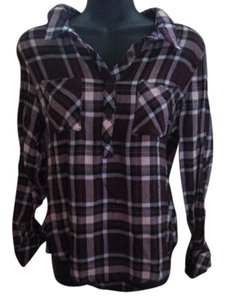 Pink Rose Plaid Flannel Fall Autumn Winter Top Purple & White