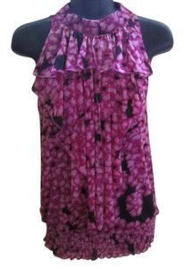 Saks Fifth Avenue Floral Mesh Ruffled Smocked Cold Top Fuchsia & Black
