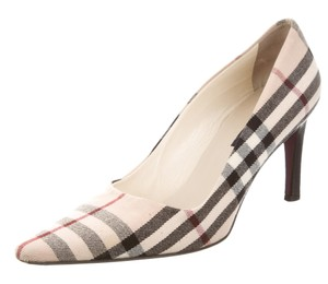 Burberry Pointed Toe Ankle Plaid Beige, Black Pumps
