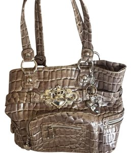 Kathy Van Zeeland Animal Print Leather Vintage Velvet Lace Tote in Brown
