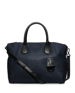 Michael Kors Leather Large Satchel in Navy / Black