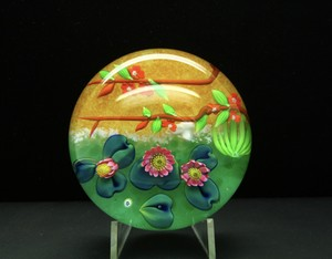 Authentic Unique Baccarat Kyoto Lotus Flowers Art Glass Paperweight