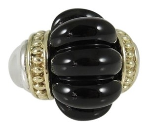 Lagos Lagos Sterling Silver 18K Yellow Gold Black Onyx Caviar Rouche Ring