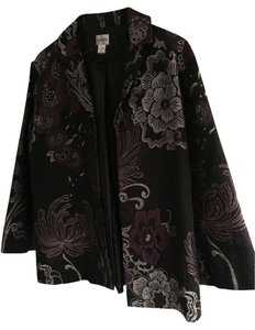 Chico's Jacket Black with Silver and Plum accent colors Blazer