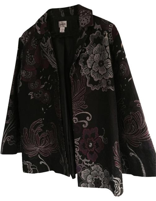 Item - Black with Silver and Plum Accent Colors Jacket Blazer Size 12 (L)