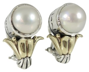 Lagos Lagos Sterling Silver 18K Yellow Gold Mabe Pearl Arcadian Earrings