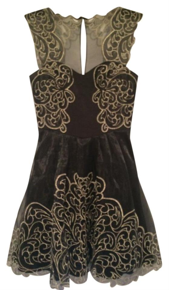 Karen Millen Black With Gold Trimdesign Or Semi Formal Short Formal