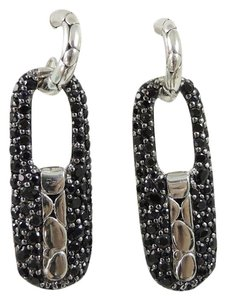 John Hardy John Hardy Sterling Silver Black Sapphire Kali Lava Long Link Earrings