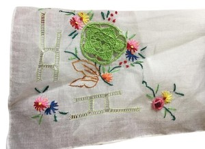 VENITIAN TAILOR NEW ITALIAN HAND EMBROIDERED WHITE LINEN HANKERCHIEF