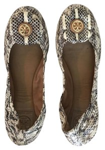 Tory Burch Monogram Leather Snakeskin Python Flats