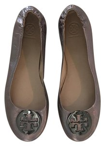 Tory Burch Leather Metallic Leather Gunmetal Flats