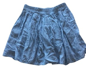 Brandy Melville Skater High Waisted Vintage Leather Casual Mini Skirt Blue