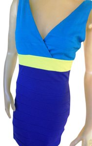 Express short dress Navy Yellow Teal colorblock on Tradesy