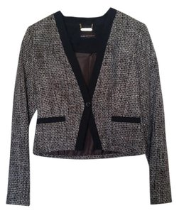 Dana Buchman Tweed Winter Fall V-neck Classic Black and Brown Blazer
