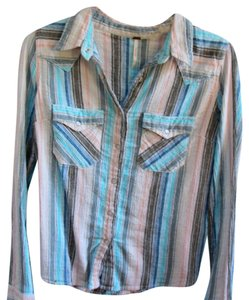 Free People Button Down Shirt Blue, pink, black, white