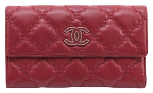 Chanel Chanel 13P Red Quilted Long HAMPTON Leather Wallet Flap Silver Trifold