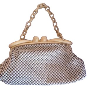 Whiting & Davis Vintage Cream mesh, dark navy interior lining Clutch