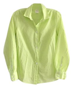 J.Crew Button Down Shirt Lime green and white