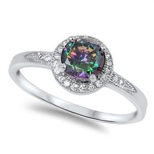 9.2.5 Stunning rainbow topaz cocktail ring size 7