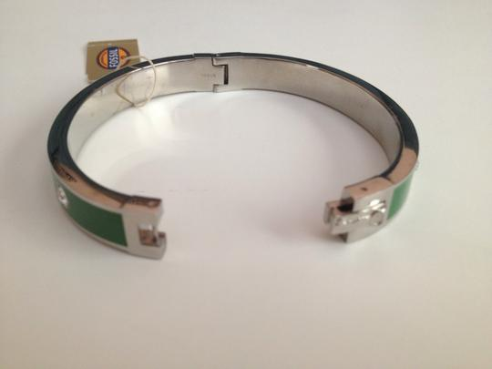 Fossil Nwt Fossil Silver Tone Stainless Green Enamel And Stones Bracelet