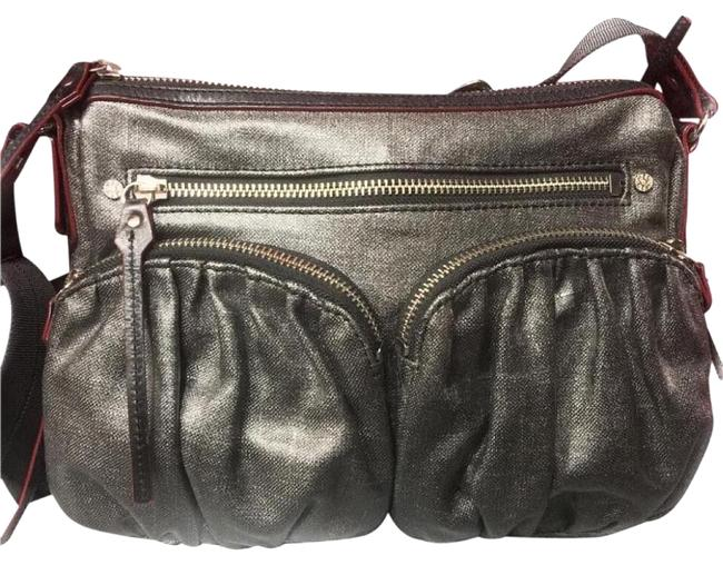 Item - Hayley Bailey Paige with Accents with Adjustable Silver Gray Canvas Leather and Nylon Strap Cross Body Bag