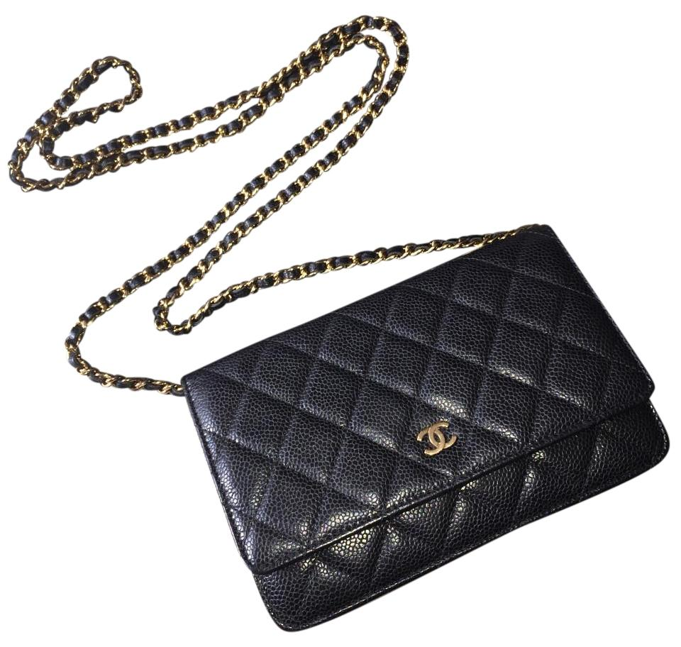 7d6518a0f997b4 Chanel Wallet on Chain Clutch Woc Caviar Gold Ghw Quilted Flap Cc 18 Series  Black Leather Cross Body Bag