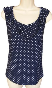 Chaps Polka Dots Ruffle Sleeveless Washable Flirty Top Blue & White
