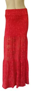 Nightcap Lace Red Stretch Pull-on Maxi Skirt rRed