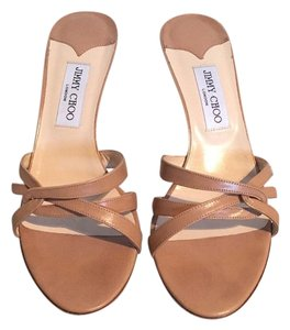 Jimmy Choo Strappy Slide On Heel Sandal Beige/nude Pumps