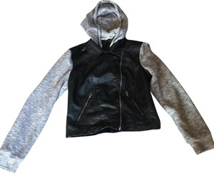 Hollister Black with gray knot sleeves/hoodie Leather Jacket