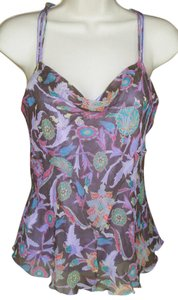 Diane von Furstenberg Strappy Silk Lightweight Coral Model Floral Top purple, multicolor