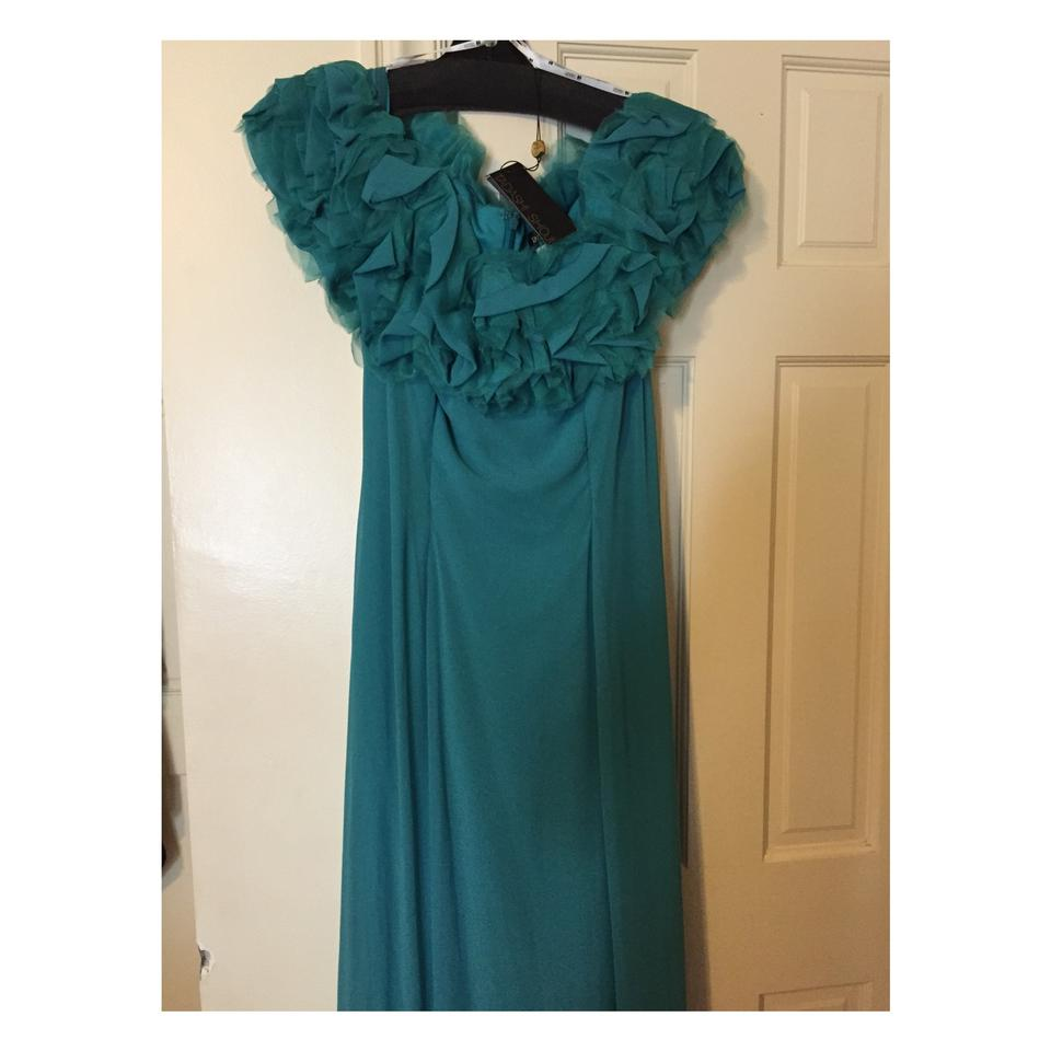 Tadashi Shoji Teal Green Yv90646l Long Formal Dress Size 14 (L ...