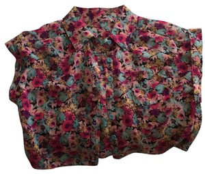 Material Girl Button Down Shirt Multicolor