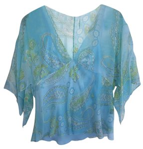 Ralph Lauren Silk Paisley Palm Beach Style Top Turquoise and lime green multi