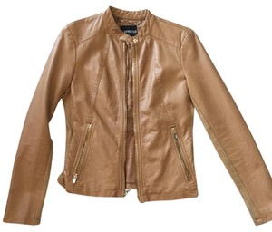 Express Leather Faux Leather Caramel Leather Jacket