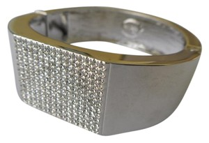 Lia Sophia Authentic Lia Sophia Silver Cuff Bracelet Crystal Pave Center