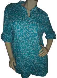 Peck & Peck Tunic Cotton Longsleeve Like New Button Down Shirt Teal & White