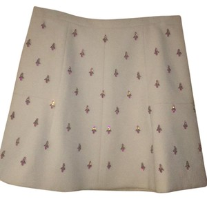 J.Crew Skirt Cream color with pink jewels