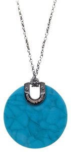Michael Kors !!SALE !!NEW Michael Kors Silver Tone Blue Disc Pendant