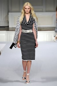 Oscar de la Renta short dress Navy & White Stripe Cashmere Silk on Tradesy